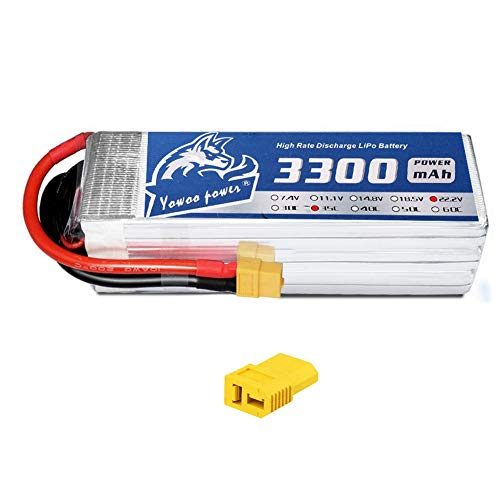 YOWOO 6S Lipo Battery 3300mAh 22.2V 35C RC Batteries with XT60 / Deans T Plug for RC Airplane RC Helicopter RC Quadcopter Drone Car Truck Boat Model (5.35x1.65x1.57in,1.11lb) (XT60 ()