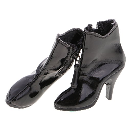 Prettyia 1/6 Ankle Boots High-Heeled Shoes for 12inch Doll Action Figure Clothing Accessories - Black