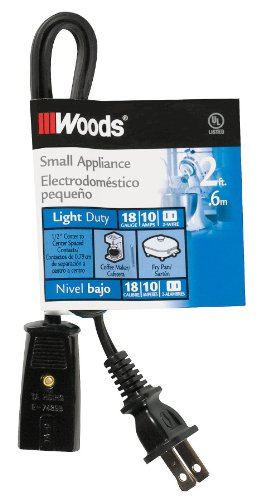 Woods 0293 Coleman Hpn Mini Replacement Extension Cord, 18/2, 2-Foot, Black