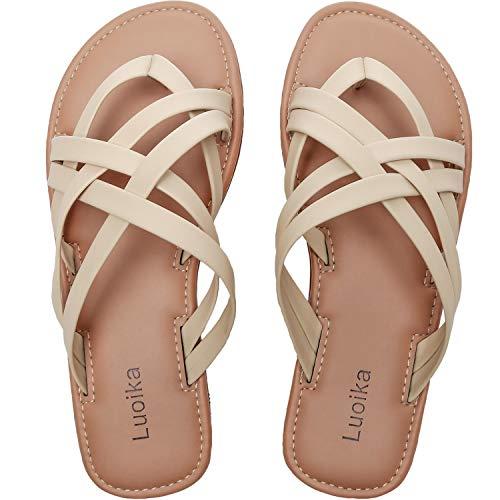 Women's Wide Width Slide Sandals - Slip On Flat Cross Strap Casual Summer Shoes.(190102,Beige,7.5) (Best Slip On Sandals 2019)