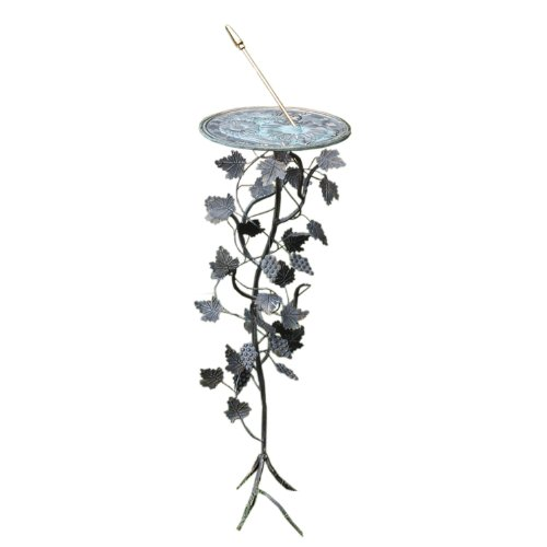 Iron Wrought Sundial - Rome B87 Grapevine Sundial Pedestal Base, Wrought Iron with Antique Finish, 27-Inch Height