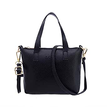Hunputa Women Celeb Fashion Handbag Shoulder Bag Large Tote Ladies Purse (Black)