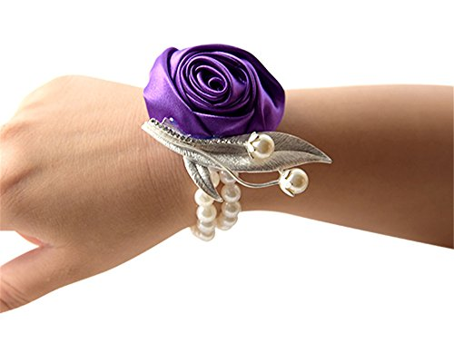 Jackcsale Fashion Wedding Bridesmaid Wrist Flower Corsage Party Hand Flower Decor with Faux Pearl Bead Wristband Dark Purple Pack of 4 (Pearl Faux Corsage)