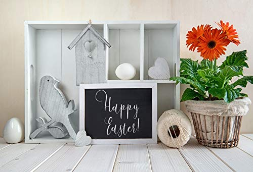(Leowefowa 9x7ft Happy Easter Ornament Interior Photography Backdrop Wooden Shelf Bird House Blackboard Red Flower Pot Stripes Wooden Floor Decoration Backgroud Children Adult Portraits)