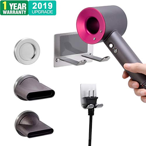 XIGOO Hair Dryer Holder, Self Adhesive Dyson Hair Dryer Wall Mount Holder Compatible Dyson Supersonic Hair Dryer, Brushed, 304 Stainless Steel, Power Plug, Diffuser and Nozzles Organizer by XIGOO (Image #9)