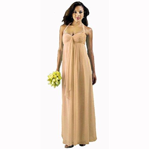 Yanzhong Apricot Flowing Dress Front Evening Orange Ruffled Formal Long Maxi Clothing Gown Bridesmaid rHqEwPnr