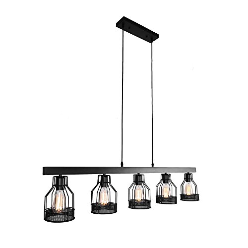 OYI Industrial Kitchen Island Light, 5 Lights Pendant Light Metal Wire Cage Hanging Lamp Rustic Ceiling Light Fixture E26 Socket