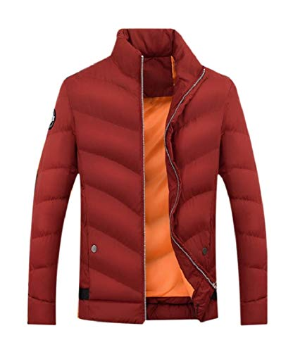 Relaxed Red Men's Mogogo Wine Stand Up Casual Pockets Coat Jacket Thicken Collar gx01qw