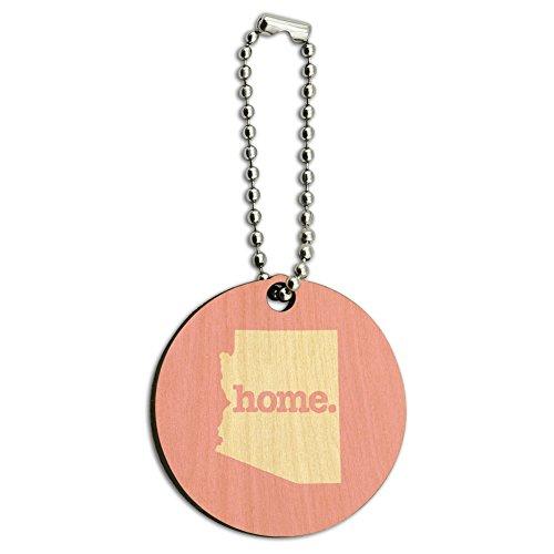 Arizona AZ Home State Wood Wooden Round Key Chain - Solid Light Pink