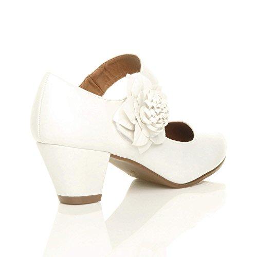 Damen Mitte Blockabsatz Lederfutter Komfort Blume Mary Jane Schuhe Pumps Größe Weiß