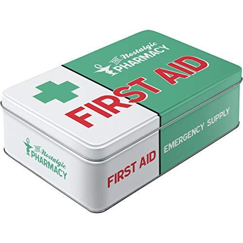 Nostalgic-Art 30740 Tin Box Flat Nostalgic Pharmacy First Aid Green, Flat, W23 x H7 x D16 - Nostalgic Tin