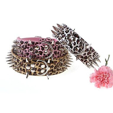 Quick shopping Pet's Alloy Horns Domineering Spike Leopard Big Dog's Collar(Random color)M 615