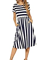 levaca Women's Casual Short Sleeve Striped Swing Midi Dress with Pockets