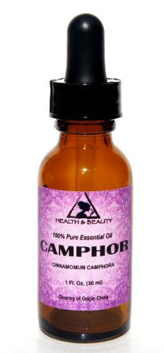 Camphor Essential Oil White Organic Aromatherapy Therapeutic Grade 100% Pure Natural 1 oz, 30 ml with Glass Dropper