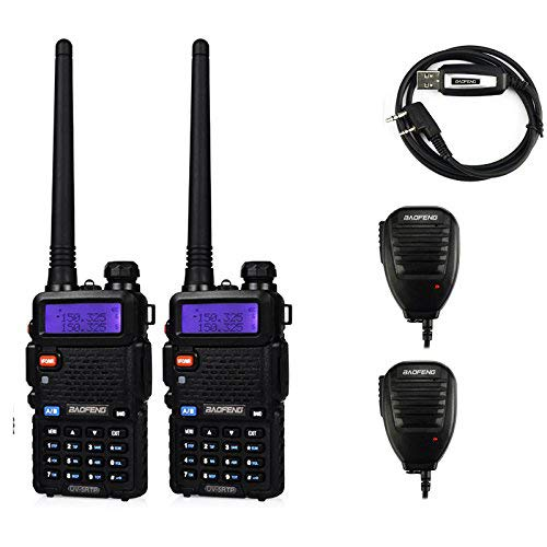 BaoFeng 2 Pack Uv-5Rtp Tri-Power 8/4/1W Two-Way Radio Transceiver (Uv-5R Upgraded Version with Tri-Power), Dual Band 136-174/400-520MHz True 8W High Power + 1 Programming Cable + 2 Remote Speakers by BaoFeng