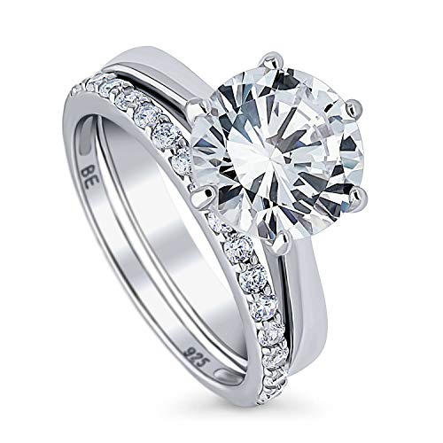 BERRICLE Rhodium Plated Sterling Silver Round Cubic Zirconia CZ Solitaire Engagement Wedding Ring Set 4.19 CTW Size 5.5