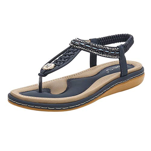 Kiminana Woven Ankle Toepost Flat Sandals,Ladies Rhinestone Weave Cross Strips Toe Retro Roman Shoes Sandals Flats Blue