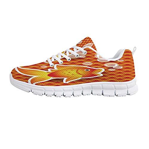 (Burnt Orange Comfortable Sports Shoes,Cute Small Goldfish Talking with Bubbles Random Scallop Patterns Decorative Home Decorative for Men & Boys,US Size 7)