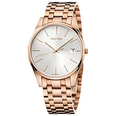 Men's Rose Gold Calvin Klein Date Display Steel Time Watch K4N21646