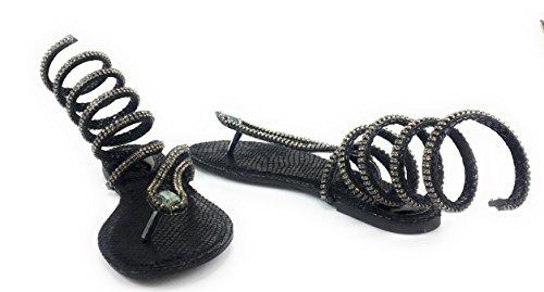 Donne Di Bambù Strass Serpente A Spirale Leg-wrap Flat Sandal Style Ruthless-01m Blacksnk
