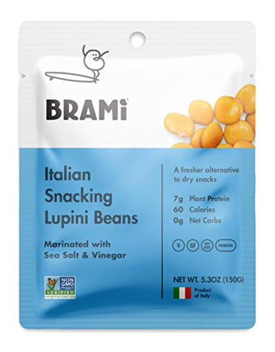 BRAMI Lupini Beans Snack, Sea Salt & Vinegar | 7g Plant Protein, 0g Net Carbs | Vegan, Vegetarian, Keto, Mediterranean Diet | 5.3 oz (8 Pack)