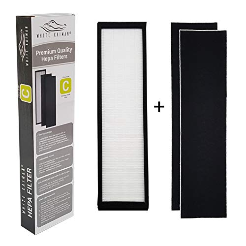 White Kaiman Premium True HEPA Air Filter C Replacement w/Carbon Pre-Filters for Dust & Allergy Elimination Compatible for GermGuardian FLT5000 Models AC5000, AP2800CA, BXAP250, IAP-GG-125 (1)