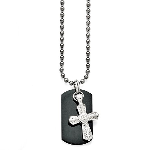 - Q Gold Jewelry Necklaces Necklace with Pendants Titanium/Ster.SIL Black Ti Polished Etched Cross/Dog Tag Necklace