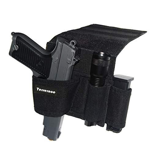 Terrernce Tactical Bed Pistol Holster, Bedside Handgun Holster, Mattress Gun Holster Universal with Flashlight Loop (black1)
