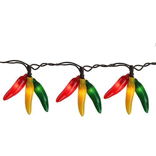 36 Red, Yellow and Green Chili Pepper Cluster String Lights - 7.5ft Brown -