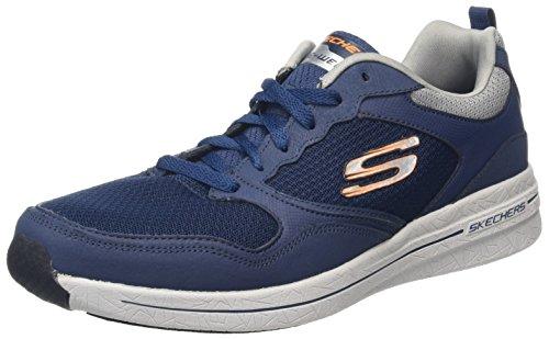 Skechers Qtr Overlay Lace Up Wforwardslashair-Coo, Zapatillas de Deporte Exterior para Hombre Azul (Nvor)