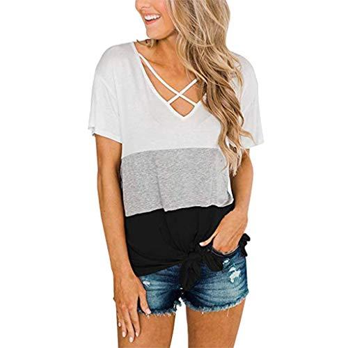 Womens Casual Short Sleeve O-Neck Tops Triple Color Block Stripe T-Shirt Ladies Loose Tunics Blouse Simple Tshirts Tee Black ()