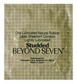 12 Beyond Seven Studded Sheerlon Latex Condoms, Ribbed Sensation, Lightly Lubricated