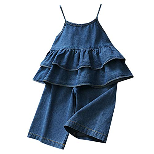 Toddler Baby Girls Denim Clothes Set - Infant Kids Sleeveless Ruffle Strap Vest Tops Shirts + Jeans Bootcut Pants - Casual Soft Outfits (5-6 Years, -