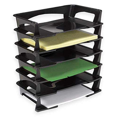Office Depot Stacking Desk Trays, 2 1/2in.H x 15 1/4in.W x 8 3/4in.D, Black, Pack of 6, 65351
