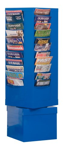 Durham 410-10 Blue Cold Rolled Steel 44 Pocket Rotary Literature Rack, 14-1/8