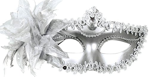 TAUT Women Venetian Pretty Party Evening Prom Masquerade Mask,Silver 7.5