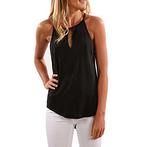 Yeesea Verano Mujer Moda Sin mangas Camiseta del chaleco Suéteres sólidos  Blusas Tank Tops Negro 19d135a3a5e7