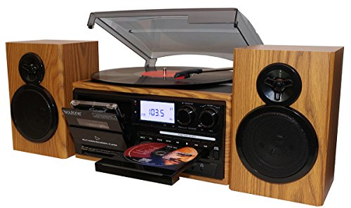 Boytone BT-28SPW, Classic Style Record Player Turntable with Radio, CD / Player, 2 Separate Stereo from Vinyl, Cassette to SD Slot, USB, AUX.