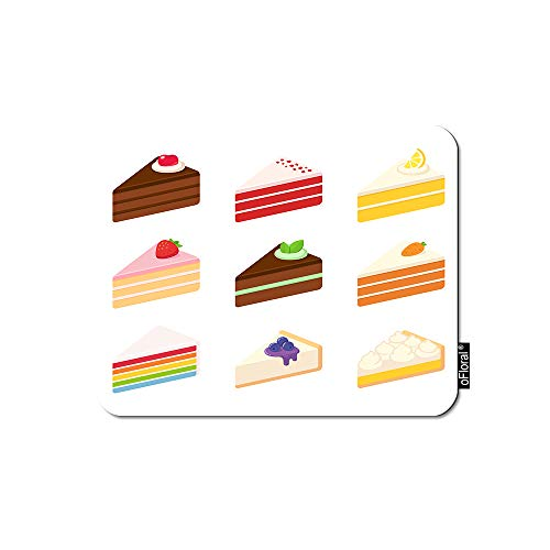 oFloral Cheesecake Mouse Pad Gaming Mouse Pad Layered Sponge Cakes Fruit Chocolate Cheesecake Pie Decorative Mousepad Rubber Base Home Decor for Computers Laptop Office 7.9X9.5 Inch ()
