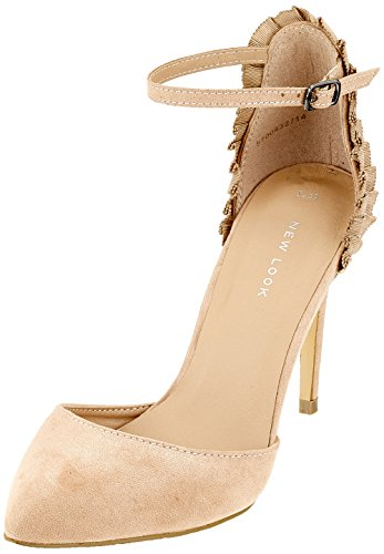 New Look Women's Scrunch Open Toe Heels Beige (Oatmeal 14) BjzqRLVEIB