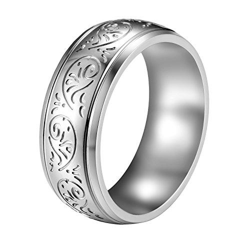 Flongo Mens Vintage 7mm Stainless Steel Ring Band Silver Tone Engraved Florentine Design, Size 10