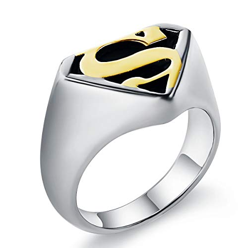 Sirius Mens Fashion Cool Motor Biker Stainless Steel Superman Rings for Men Batman Silver Band Ring Size 9]()
