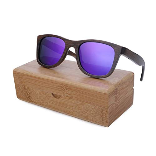 Purple lens withcase BerWerfashion Polarized Sunglasses Available Bamboo Wooden Sunglasses  (Lenses color  Silver Lens)