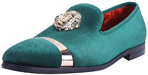 ELANROMAN Men Loafer Velvet Dress Slippers with Gold Plate Fashion Penny Party Men Luxury Slip on Wedding Dress Shoes for Men Olive US 13 EUR 47 Feet Lenght 310mm