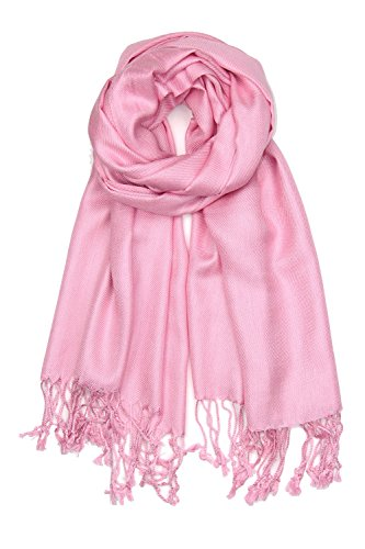 Achillea Large Soft Silky Pashmina Shawl Wrap Scarf in Solid Colors (Pink) -