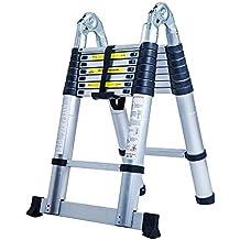 Senrob Aluminum Telescopic Extension Ladder,Extendable Folding Multi-Purpose Ladder Max 330 lbs. Capacity (16.5 FT)