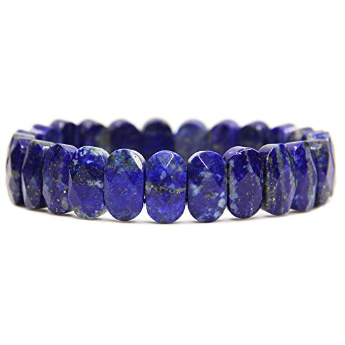 Amandastone Natural Lapis Lazuli Gemstone 14mm Faceted Oval Beads Stretch Bracelet 7