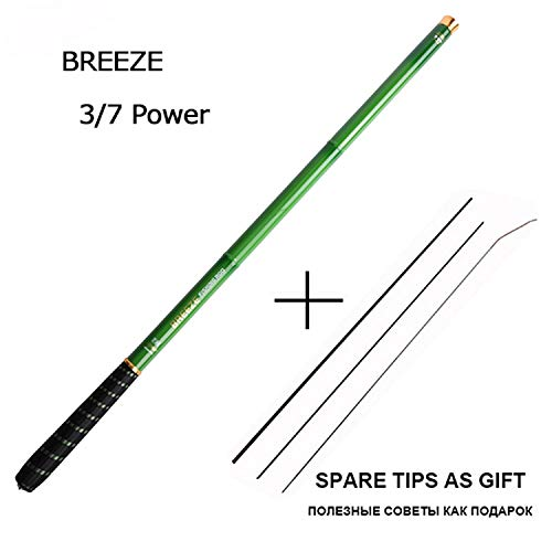 (Lady night Fishing Rod 3.6-7.2M 2/8 Power Hard Carbon Fiber Telescopic Fishing Rods for Stream Carp Fishing, 1 Rod+3 Tips,Green,APPR. 4.1-4.3M,Russian Federation)