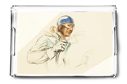 Bugatti Driver Vintage Poster (artist: Geo Ham) c. 1928 (Acrylic Serving Tray)