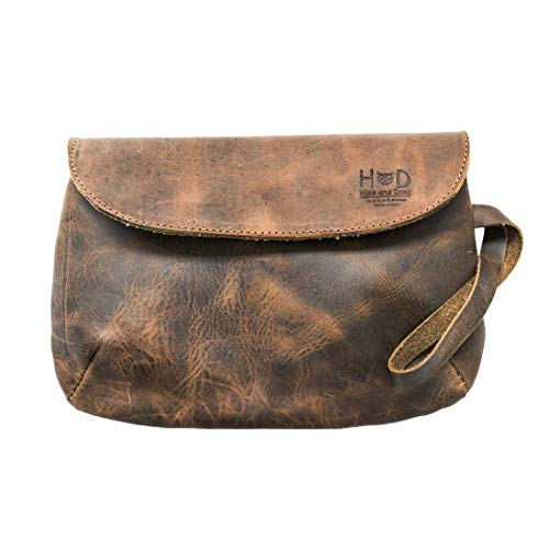 Chic Leather Clutch Bag By Hide Drink :: Bourbon Brown